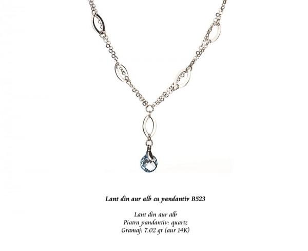 Lant-din-aur-alb-cu-pandantiv-B523
